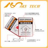 Neigung-Auswirkung-Anzeiger-Kennsatz-Gebrauch für das Warnen im Versand