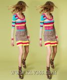 Mesdames fashion robe de fête tricotés