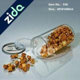 Freie GroßhandelsCyclinder Verpacken- der Lebensmittelbreite Mund-Plätzchen-Süßigkeit-Plastikbehälter-Gläser mit Aluminiumschutzkappe