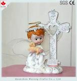 Decoração transversal religiosa popular por atacado da tabela dos Figurines da criança de Polyresin mini