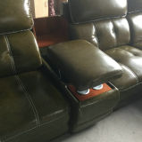 La couleur noire Accueil Mobilier authentique canapé en cuir de coupe (A848-2)