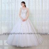 Les robes élégantes de princesse mariage lacent vers le haut la robe nuptiale de robe longue