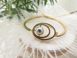 Het zwarte Goud van de Parel plateerde de Zwarte Hoge Poolse Armband van de Diamant voor Vrouwen