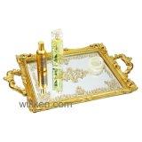 Punhos modernos da bandeja decorativa do espelho da resina