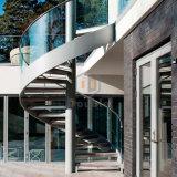 Het gebogen Loopvlak van het Glas van de Treden van het Ontwerp/van de Villa van de Wenteltrap van het Glas Binnen Spiraalvormige