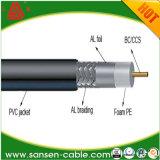Câble coaxial RG6 avec blindage Tinned-Copper et gaine en PVC double