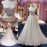 Vestidos de casamento nupciais de cristal de perolização gama alta 2018 do vestido de esfera da cintura