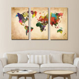3 panel Vintage World map Canvas Painting oil Painting print on Canvas Home Decor barrier kind barrier Picture for Living Room