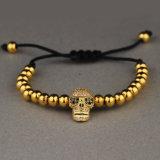 Goldmann-Schädel bördelt Armband, Raupe-Charme-Armband Msbb014