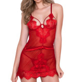 As mulheres Sexy Red Eyelash Lace Chemise Lingerie Babydoll