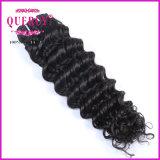 Vende por atacado cabelo 100% humano não processado de Remy 100 brasileiros profundos fornecedores das extensões do cabelo do Virgin da onda da classe 9A o um