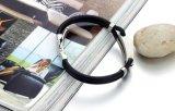 Braccialetti neri del Wristband del silicone per il commercio all'ingrosso dei monili dei braccialetti di fascino dell'acciaio inossidabile degli uomini