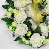 De witte Kleurrijke 35cm Kunstmatige Kronen van de Deur voor het Huwelijk van de Decoratie van de Partij