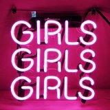 Muestra de neón del color de rosa 3 de las muchachas del soporte del Pub del club de la cerveza de cristal de neón de la barra