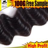 Естественный цвет 6A Индийского Реми плетение волос