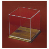 Boîte de présentation acrylique claire avec la base en bois