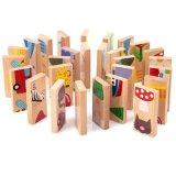 Деревянные детей мультфильм животных пасьянс домино строительные блоки головоломки игры образования игрушки