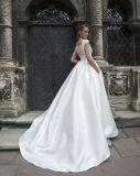 Амели скалистых A-Line Vintage Satin свадебные платья с карманами