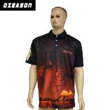 中国の工場はカンガルーの印刷の人のポロシャツをカスタム設計する