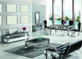 緩和されたガラスか模倣された木製の上のステンレス鋼のダイニングテーブル