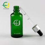 50ml de vidrio verde botella con gotero de aluminio