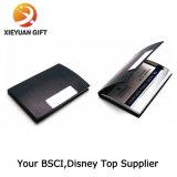 Double support de caisse de carte nommée de cuir de côtés