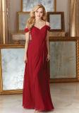 Красный шифон линию невесты платья-Prom вечерние платья