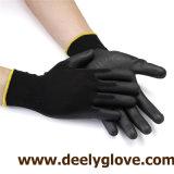 Guantes protectores revestidos de la seguridad del trabajo de los guantes de la palma negra de la PU