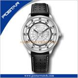 革バンドのジュネーブの水晶ステンレス鋼の人の方法腕時計