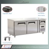 Ce утверждения 2 двери нержавеющая сталь в коммерческих целях морозильной камере Workbench холодильник