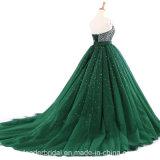 Зеленые голубые кристаллы платьев Quinceanera отбортовали платья мантий выпускного вечера партии 2018 Lb17918