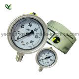 底によって取付けられる圧力計、100mmの圧力計
