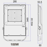 UL TUV Ce Alto Lumen 100lm/W 5 año de garantía IP65 Aleación Alluminum Die-Casting proyector LED Slim con controlador Meanwell
