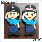 Mujer Policía de dibujos animados de la unidad flash USB de diseño en PVC (XH-USB-191)