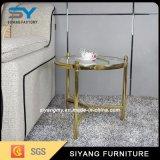De mármore redonda sofá do café do aço inoxidável