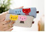 La poche mignonne de crayon de chat de sacs de crayon d'élève de toile de piste composent des approvisionnements d'école de bureau de trousse d'écolier de papeterie de grande capacité de sac