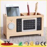 Календар стола коробки хранения канцелярских принадлежностей творческого клена деревянный Desktop