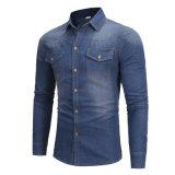 Втулок осени рубашки джинсыов втулки пальто джинсовой ткани рубашка джинсыов голубых людей длинних длинних