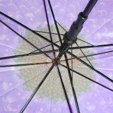 紫色のホックのハンドルが付いている新しいゆとりPoeかなり紫色カラー自動車の開いた傘