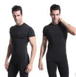 짧은 소매 남자 t-셔츠 스포츠 착용 의류 적당 착용 타이츠