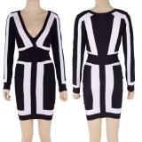 [ف-نك] عميق كم طويلة أسود و [نيغتكلوب&160] بيضاء; ضمادة ثوب