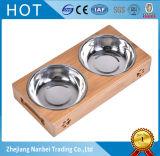 Tazones de fuente de madera levantados insignia de encargo del doble del animal doméstico para el gato del perro