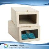 Rectángulo acanalado del cajón del zapato de la ropa de la ropa del embalaje fijado con la ventana (xc-aps-003)