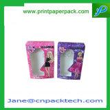 Le parfum estampé par coutume de boîte-cadeau de guichet de PVC de mode enferme dans une boîte des bijoux empaquetant le cadre cosmétique de module de perruques