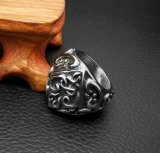 Base negra de Matt del anillo de la cola de los hombres de la flor de la vendimia