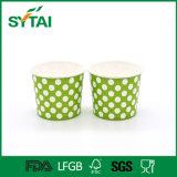 Taza de papel de un sólo recinto disponible colorida del helado de la impresión de PUNTO