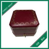 Rectángulo de cuero de lujo del anillo del regalo de boda de la calidad
