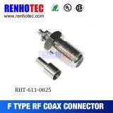 Conector femenino del prensado F del cable RG6