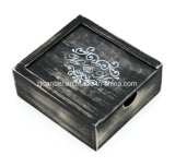 Rectángulo de madera lavado negro rústico del recuerdo de la insignia de encargo del laser