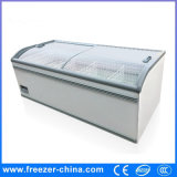 Glass Top Frozen Food Horizontal Commercial Island Freezer